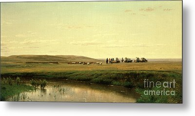 A Wagon Train On The Plains Metal Print by Thomas Worthington Whittredge