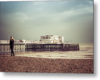A Walk By The Pier Metal Print by David Warrington