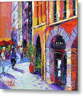 A Walk In The Lyon Old Town Metal Print by Mona Edulesco