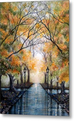 A Walk In The Park - Autumn Metal Print by Janine Riley