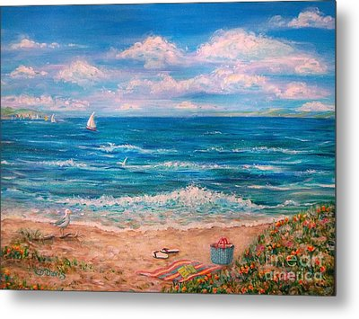 A Walk In The Sand Metal Print