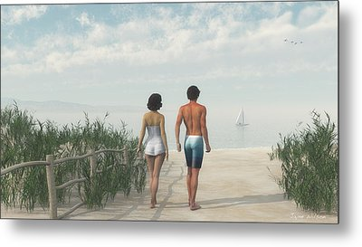 A Walk In The Sand Dunes Metal Print