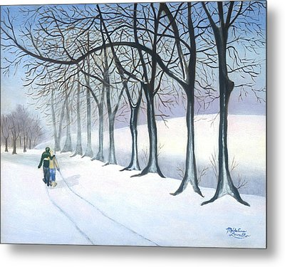 A Walk In The Snow Metal Print