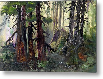 Metal Print featuring the painting A Walk In The Woods by Sherry Shipley