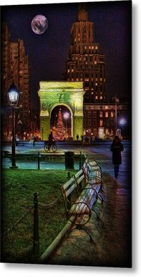 A Walk In Washington Square Metal Print by Lee Dos Santos