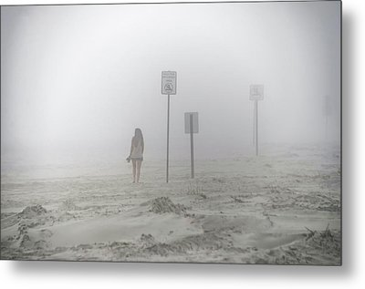 A Walk On A Foggy Beach Metal Print