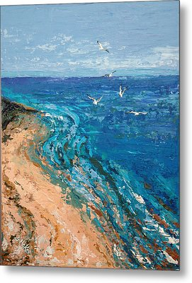 Metal Print featuring the painting A Walk On Dauphin Island by Suzanne McKee