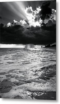 A Walk On The Beach In Black And White Metal Print by Greg Mimbs