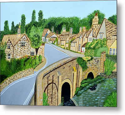A Walk Through A Village In The English Cotswolds Metal Print by Magdalena Frohnsdorff