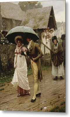 A Wet Sunday Morning Metal Print by Edmund Blair Leighton