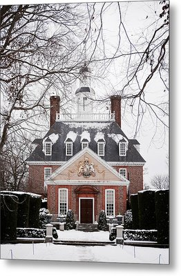 A Williamsburg Winter's Snow Metal Print by Rachel Morrison