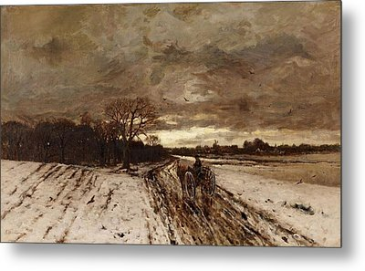 A Winter Landscape With A Horse And Cart At Dusk Metal Print by MotionAge Designs