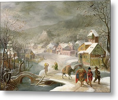 A Winter Landscape With Travellers On A Path Metal Print by Denys van Alsloot
