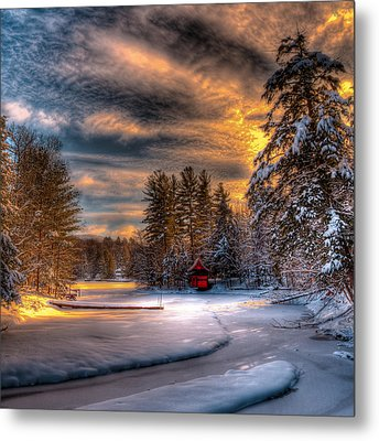 A Winter Sunset Metal Print by David Patterson