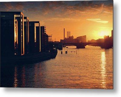 A Winter Sunset From Knippelsbro Bridge In Copenhagen  Metal Print