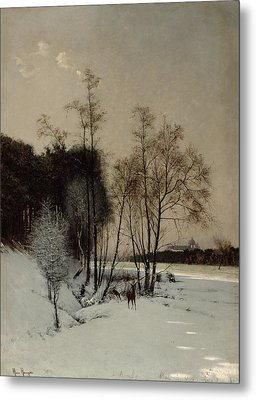A Winter View In Posen Metal Print by Hans Hampke