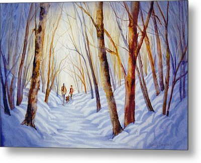 A-winter-walk Metal Print by Nancy Newman