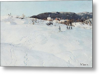 A Winter's Day In Norway Metal Print by Fritz Thaulow