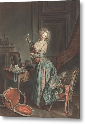 A Woman Playing The Guitar Metal Print by Jean-Francois Janinet