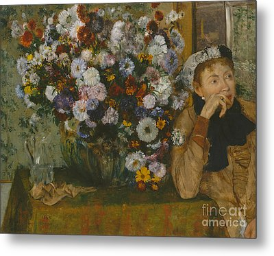 A Woman Seated Beside A Vase Of Flowers, 1865 Metal Print by Edgar Degas