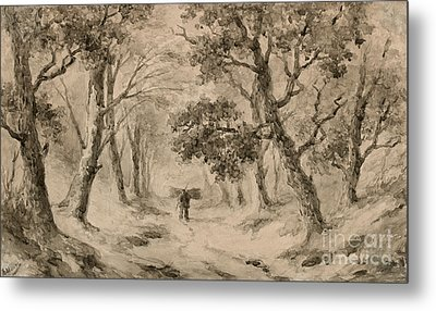 A Wood Gatherer In The Forest Metal Print