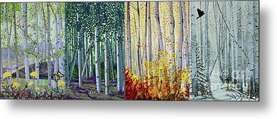 A Year In A Birch Forest Metal Print