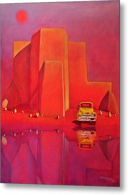 Metal Print featuring the painting A Yellow Truck With A Red Moon In Ranchos by Art West
