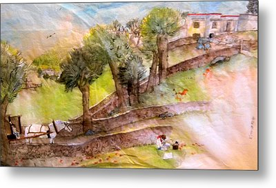 Metal Print featuring the painting a young artist dreams of Italy by Debbi Saccomanno Chan