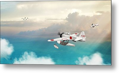 Metal Print featuring the digital art A6m2-n Sea Plane by John Wills
