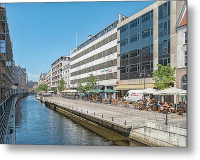 Metal Print featuring the photograph Aarhus Canal Activity by Antony McAulay