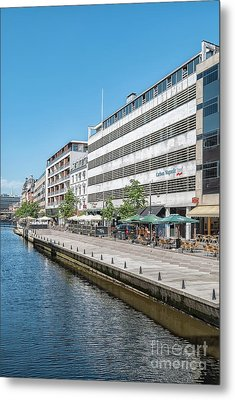 Metal Print featuring the photograph Aarhus Canal Scene by Antony McAulay