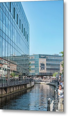 Metal Print featuring the photograph Aarhus Lunchtime Canal Scene by Antony McAulay