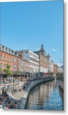 Metal Print featuring the photograph Aarhus Summertime Canal Scene by Antony McAulay