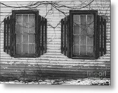 Abandoned Black And White Metal Print by Katie W