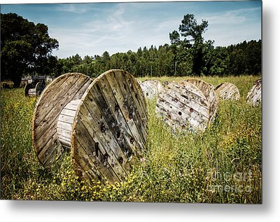 Abandoned Cable Reels Metal Print