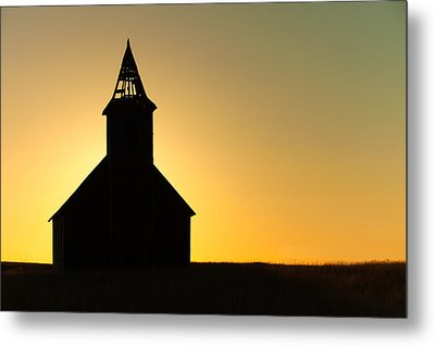 Abandoned Church Silhouette Metal Print by Todd Klassy