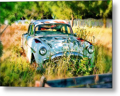 Metal Print featuring the digital art Abandoned Hotrod by Michael Cleere