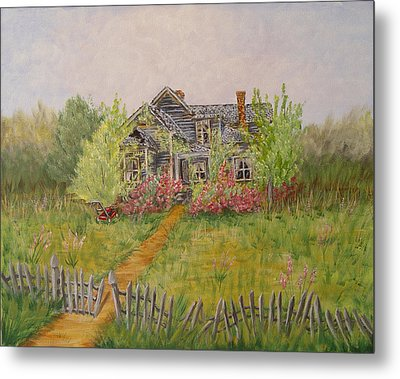 Metal Print featuring the painting Abandoned House by Quwatha Valentine