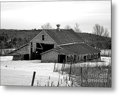Abandoned Maine Barn In Winter Metal Print by Olivier Le Queinec
