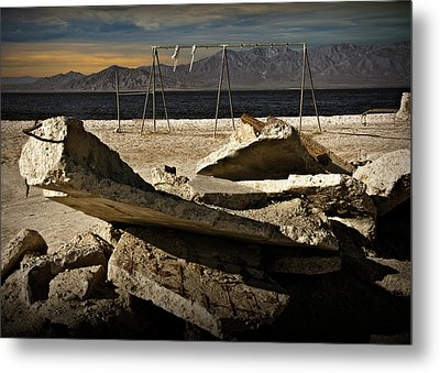Metal Print featuring the photograph Abandoned Ruins On The Eastern Shore Of The Salton Sea by Randall Nyhof