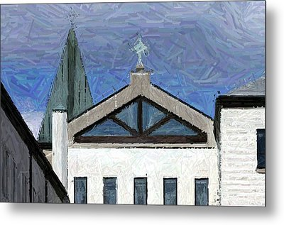 Blue Skies Over Abbey Of Gethsemani Chapel - Trappist Ky Metal Print by Thia Stover