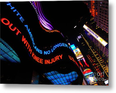 Abc News Scrolling Marquee In Times Square New York City Metal Print by Amy Cicconi