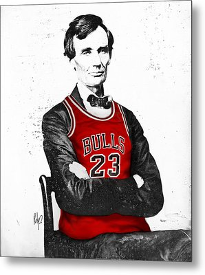 Abe Lincoln In A Bulls Jersey Metal Print
