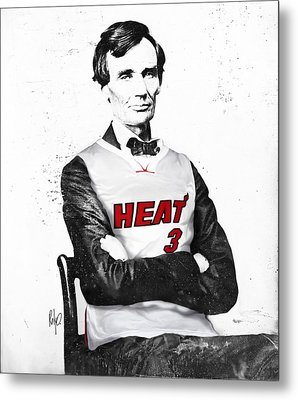 Abe Lincoln In A Dwyane Wade Jersey Metal Print by Roly Orihuela