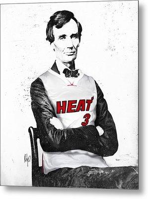 Abe Lincoln In A Dwyane Wade Jersey Metal Print