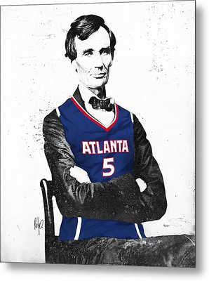 Abe Lincoln In A Josh Smith Atlanta Hawks Jersey Metal Print by Roly Orihuela