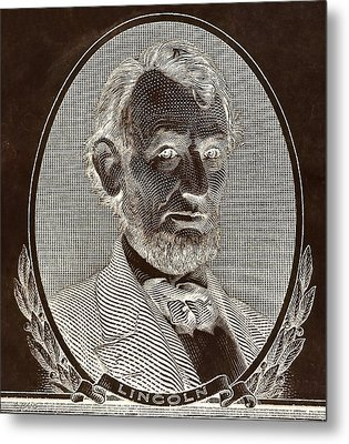 Metal Print featuring the photograph Abe On The 5 B W Inverted Brown by Rob Hans