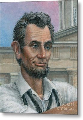 Metal Print featuring the painting Abe's 1st Selfie - Detail by Jane Bucci