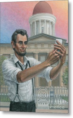 Metal Print featuring the painting Abe's 1st Selfie by Jane Bucci