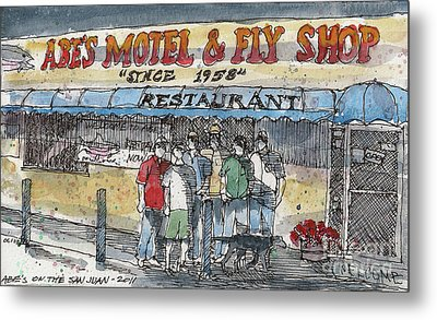 Abes Motel And Fly Shop Metal Print